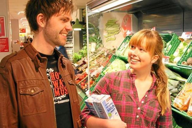 Flirten in de supermarkt